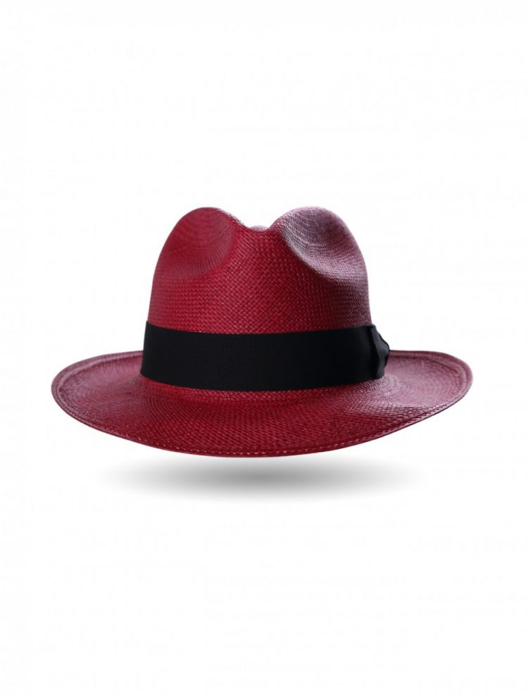 Red with Black Ribbon Panama Hat