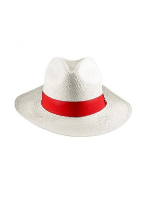 White with Red Ribbon Panama Hat